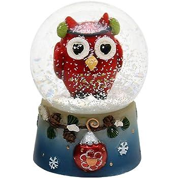 Dekohelden24 - Bola de nieve con divertido búho, original Rojo: Amazon.es: Hogar