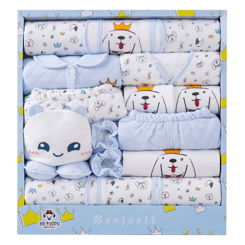 Banjvall 班杰威尔 纯棉婴儿衣服新生儿礼盒套装0-3个月6秋冬季初生满月宝宝用品礼物 加厚多乐犬 (蓝色, 59码(0-6个月)