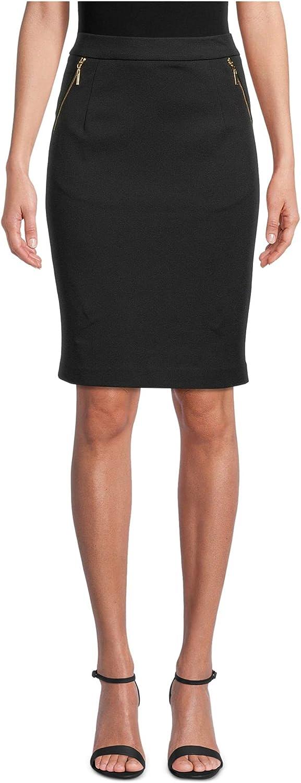 Kasper Womens Black Zippered Knee Length Pencil Wear to Work Skirt Size 16
