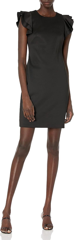Tommy Hilfiger Women's Flutter Sleeve Scuba Dress