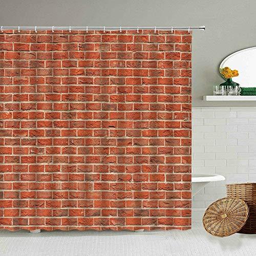 XCBN Cortina de Ducha de Pared de Piedra de ladrillo Rojo Retro, Tela de Fondo para fotografía, Pantalla Impermeable, decoración de baño con Gancho A7 180x200cm