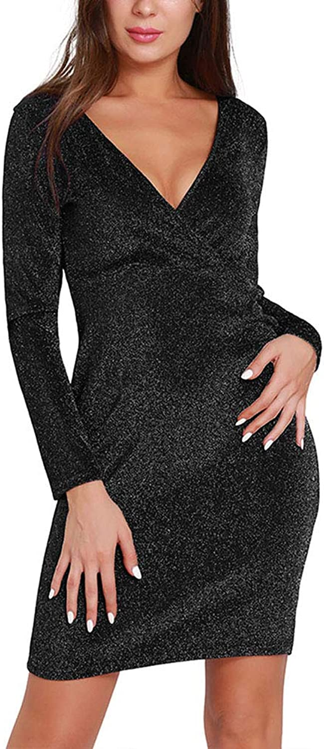 HOOYON Women's V Neck Mini Dress Cocktail Party Sexy Bodycon Vintage Long Sleeve Bling Bling Sexy Clubwear