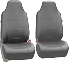 FH Group FH-PU103102 High Back Royal PU Leather Car Seat Covers Airbag & Split Solid Gray