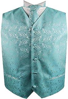 Men's Classic Paisley Floral Jacquard Waistcoat&Necktie and Pocket Square Vest Suit Set