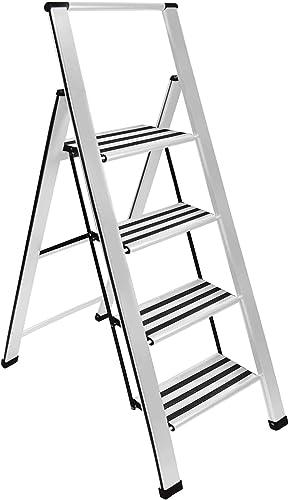 wholesale Sorfey Premium 4 Step Modern Aluminum online sale Ladder. Lightweight,-Ultra Slim Profile, Anti Slip Steps, lowest Sturdy-Portable for Home, Office, Kitchen, Photography Use, Aluminum Finish sale