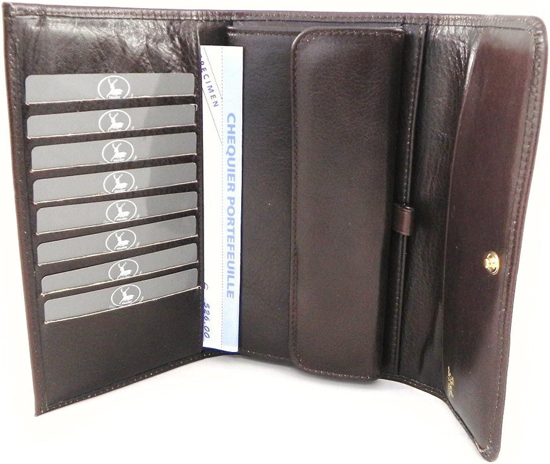 [On SALE   SOLDES  ]   Wallet + checkbook holder leather  Frandi  brown dakota.