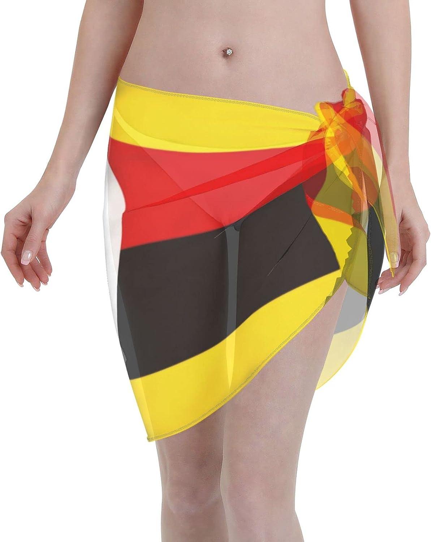 Uganda Flag Women Short Sarongs Beach Wrap, Beach Cover-Ups High Waisted Wrap Skirt with Slit,Sexy Sheer Swimsuit Bikini Wraps Chiffon,Soft Scarf for Swimwear Black