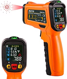 Digital Laser Infrared Thermometer,ZOTO Non Contact Temperature Gun Instant-read -58 ℉to 1472℉with LED Display K-Type Thermocouple for Kitchen Cooking BBQ Automotive and Industrial PM6530D Thermometer