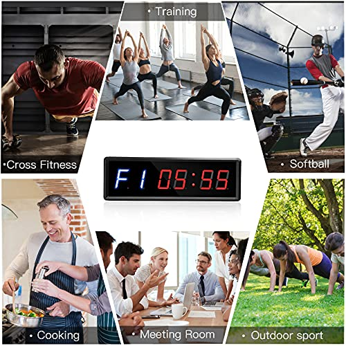 """Seesii Gym Timer, Ultra-Clear LED Interval Timer Count Down/Up Clock Stopwatch, 11""""x 3.6"""" Portable Wall Timer with Remote Compatible with Power Bank for Outdoor Workout and Home Gym Fitness"""