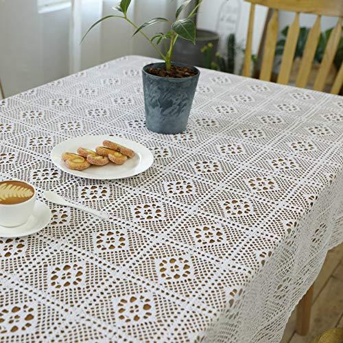 Be&xn American Diner Crochet Mantel, Algodón Hecho A Mano De Tela De Mesa De Encaje Rectángulo Vintage Cubierta De Mesa Doily para La Decoración del Hogar -Blanco 85x85cm(33x33inch)