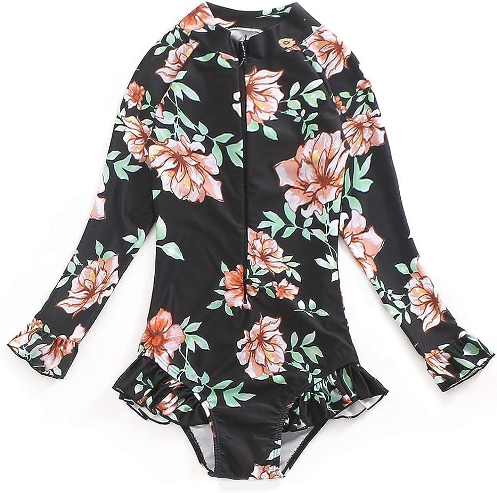 Girl Swimsuit One Piece Bathing Sleeve Swimw Suit 1 year warranty Rashguard Long Large-scale sale