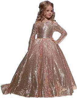 hengyud Rose Gold Sequins Toddler Pageant Dresses Girls Long Sleeves Prom Dress Kids 168