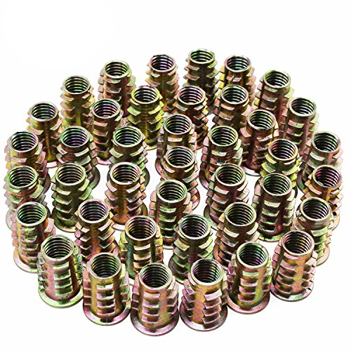 Hseamall 50 PZ M8 Dadi esagonali in lega di zinco con inserti filettati Inserti filettati per mobili in legno