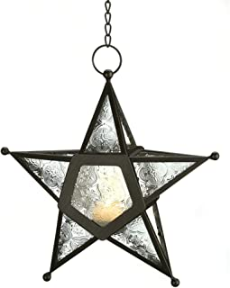 Gifts & Decor 57070454 Clear Star Candle Lantern, Black