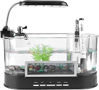 USB Desktop Aquarium Mini Tanque de Peces con Agua Corriente LCD Reloj de Alarma Colorido LED Lámpara de Luz Calendario Se Sostiene para la Decoración de la Oficina en el Hogar (sin batería)(Black)