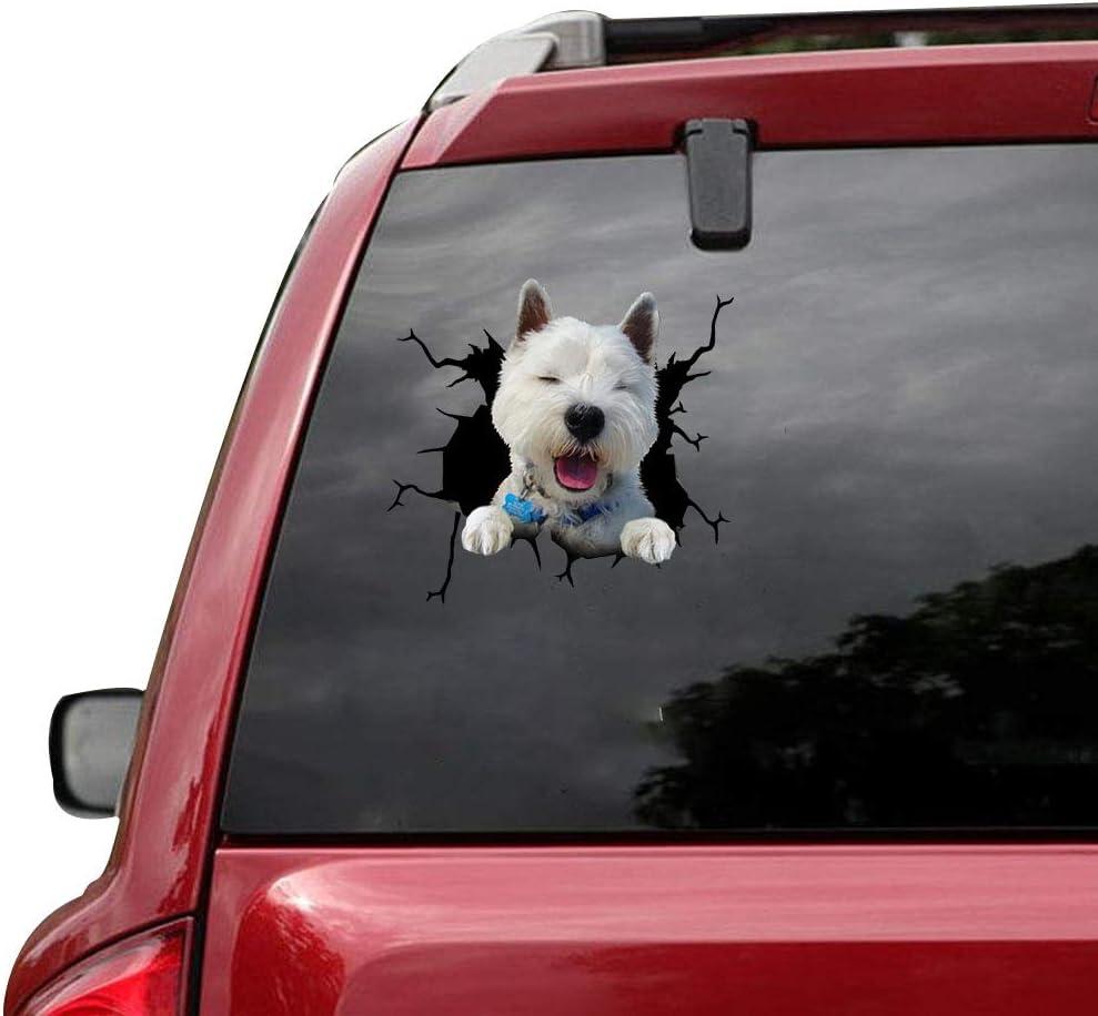 Columbus Mall RAMUATI 5 Max 62% OFF pcs Happy West Highland Decal White Vinyl Car Terrier