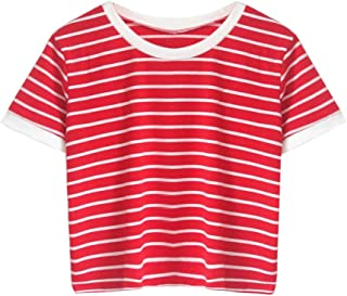 Women's Summer Casual Multi Striped Ribbed Short Sleeve Tee Knit Top Tee T Shirt
