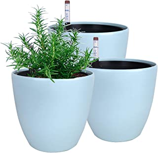 Vencer 7'' Plastic Round 3 Pack Self Watering Planter,with Water Indicator,Modern Decorative Planter Pot for All House Pla...