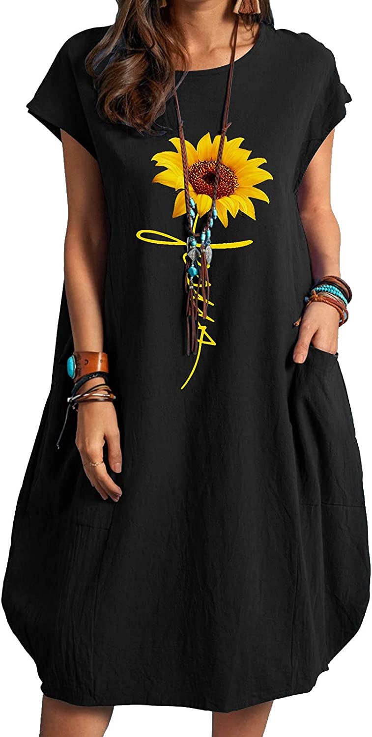 VEKDONE Casual Dress for Women Short Sleeve Sunflower Oversize Baggy T Shirt Loose Party Short Midi Dresses with Pockets