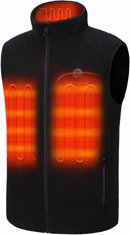 Venustas NEW before selling Men's Fleece Heated Phoenix Mall Vest Lightw Pack 7.4V with Battery