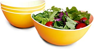 Honla 48 Oz Pasta Salad Bowls,Set of 4,Unbreakable Plastic and Wavy Rim,2 Tone,Yellow and White