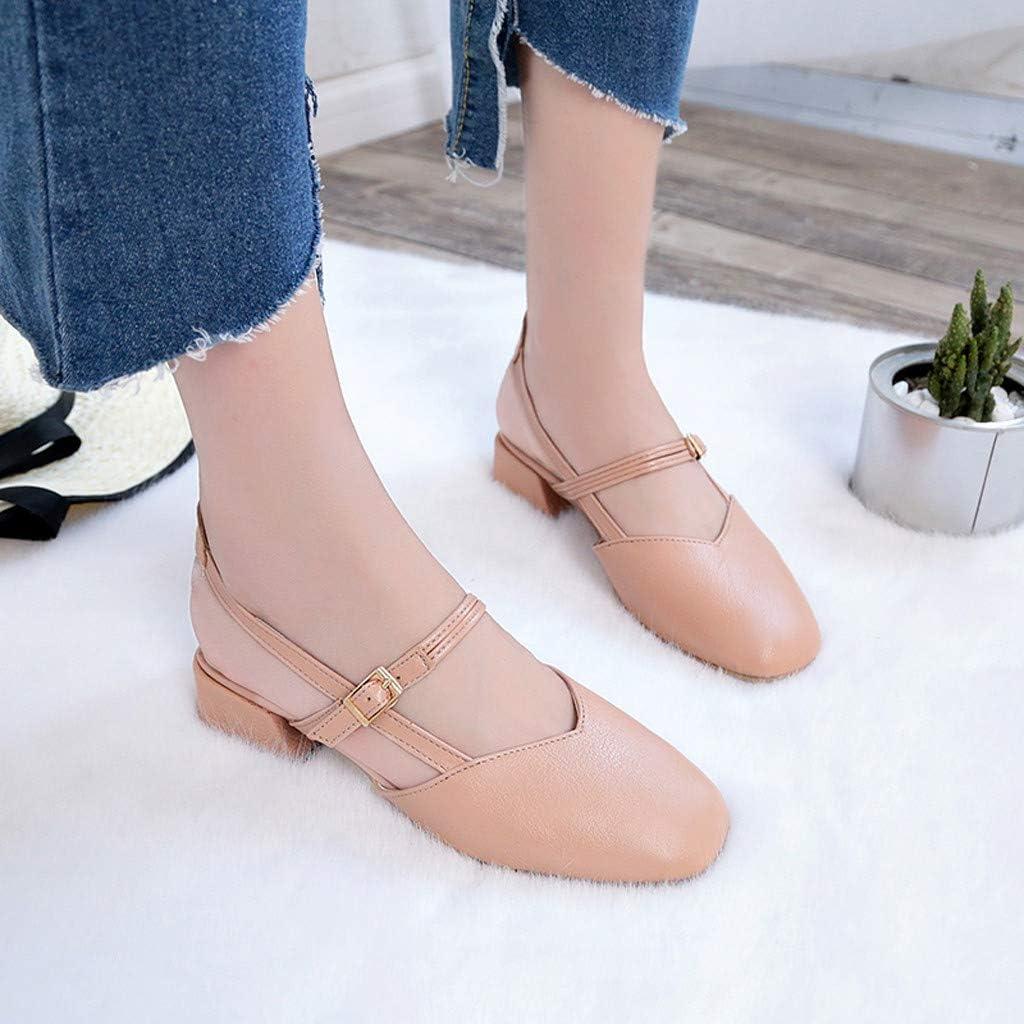 Summer Home Must Liqiqi Zapatillas de Moda Sandalias de Color s/ólido con Correa en el Tobillo Mujer Rosa Zapatos de Princesa Zapatos de Mujer Elegantes con Tacones Blancos medianos