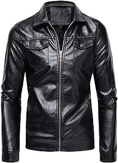 wuliLINL Faux Leather Jacket for Men Bomber,Men's Casual Zipper Slim PU Leather Sleeve Bomber Jacket