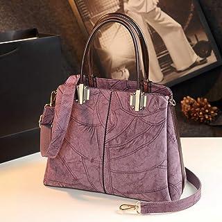 Simple Ladies Backpack/Shoulder Bag/Messenger Bag/Handbag/Soft Leather Handbag. jszzz (Color : Purple)