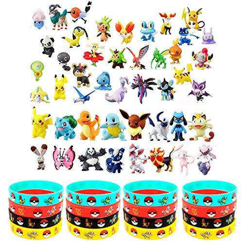 OMZGXGOD - Pokémon Pearl Minifiguren (48 Stück) Und Pokémon Silikon Armband (16 Stück) Parteien für Erwachsene und Kinder
