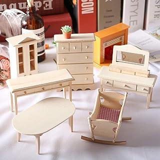 TUANJIE 6 عدد شبیه سازی مینیاتور میز چوبی مدل مبلمان اتاق نشیمن بچه های عروسک عروسک اسباب بازی کوچک اندازه اسباب بازی دکور لوازم جانبی برای عروسک دکوراسیون خانه
