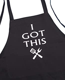 Funny Grilling Aprons for Men Or Women I Got This, Black, Extra Long Ties