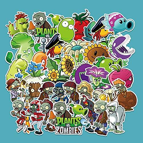 JZLMF 60 dibujos animados de plantas contra zombies, juego de pegatinas para maleta, nevera, scooter, coche, graffiti, decoración
