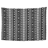 YongColer Hippie Black White Tapestry, Bohemian Geometric African Tribal Pattern Wall Hanging Decor for Bed Room Dorm Kitchen Beach, 80x60 Inch