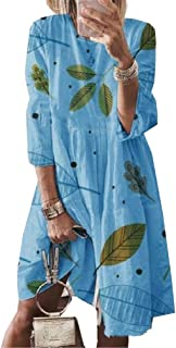 neveraway Women Casual Relaxed 3/4 Sleeve Style Floral Printed Summer Dress