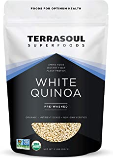 Terrasoul Superfoods Organic White Quinoa, 2 Lbs - Pre-washed | Gluten-free | Plant Protein