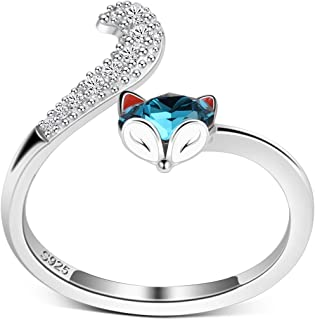 PLATO H S925 Sterling Silver Fox Animal Finger Open Ring Tail High Polish Plain with Crystals from Swarovski for Women Girl Dainty Teal Jewelry Gift Anniversary Wife Birthday Adjustable