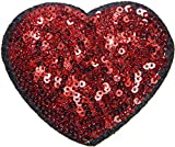 Red Heart Sparkly Sequin Shine Shiny Patch Sew Iron on Embroidered Applique Craft Handmade Baby Kid Girl Women Sexy Lady Hip Hop Cloths DIY Costume