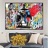 Poster Abstrakte Superman und Batman Aquarell Graffiti