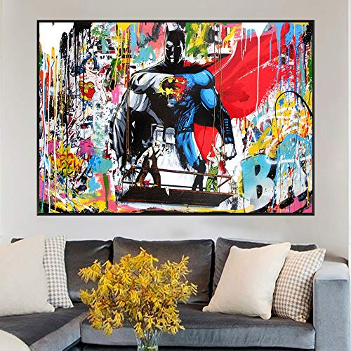 Toile de peinture Abstrait Superman et Batman aquarelle Graffiti Street Art peinture sur toile Art mural pour bande dessinée super-héros décoration de la maison 60x90cm