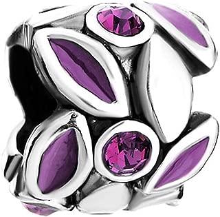 LovelyJewelry Flower Charm Purple Petal Crystal Round European Bead s Bracelet