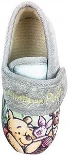 Zapatillas para niños Winnie The Pooh Gris Touch Fijar Slip On Zapatos de interior Suela de agarre UK5-10