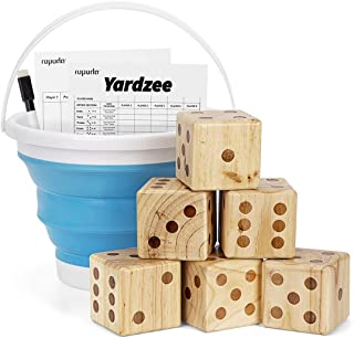 ROPODA Giant Wooden Yard Dice Set for Outdoor Fun, Barbeque, Party Events, Backyard Games, Lawn Games Includes 6 Dice, Collapsible Bucket, Score Cards & Dry Erase Marker