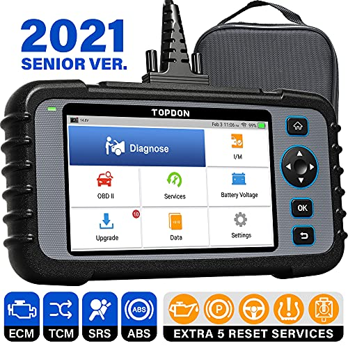 OBD2 Scanner, TOPDON ArtiDiag600 Scan Tool, Diagnostic Tool for Engine/SRS/ABS/Transmission, Oil/EPB/SAS/TPMS Reset Throttle Matching Car Scanner, 2021 CAN Code Reader for DIYer, AutoVIN, Free Update