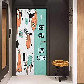 Onefzc Door Wall Sticker Animal Lazy Sleepy Bear Tribe of Australian Sloths with Keep Calm Quote Cartoon Priint Mural Wallpaper W32 x H80 Multicolor