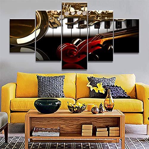 MSDEWLH 5 Leinwand Malerei Western Piano Violine Instrument Familie Panel Wandkunst Bild Dekoration Wohnzimmer Moderne Modulare Hd Druck Poster-12x16in 12x24in 12x32in