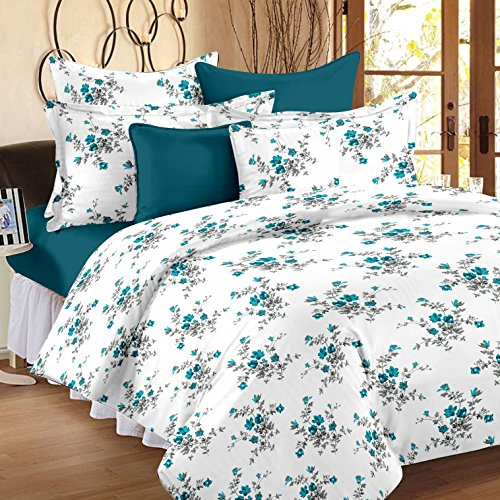 HUESLAND by Ahmedabad Cotton Comfort 160 TC Cotton Double Bedsheet with 2 Pillow Covers - White and Blue