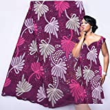 New Black with Red Hollow Pure Cotton African Lace Fabric Swiss Voile Lace in Switzerland Fashion Nigerian Lace Fabric Embroidery Women Dress (Purple)