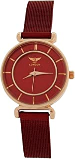 Ladies Rosetone Analogue Red Dial & Mesh Bracelet Strap Watch PL7424