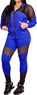 Remxi Two Piece Outfits for Women Casual Long Sleeve See Through Through Patchwork Zip Pocket Jacket Bodycon Pants Tracksuits Set