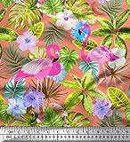 Soimoi Orange Seide Stoff Flamingo, Tropische Blätter &